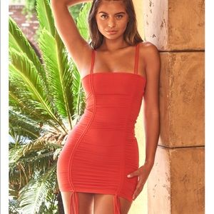 Oh Polly!  Strappy red ruched mini dress NWT